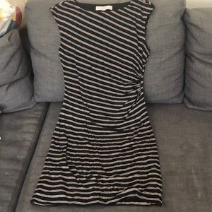 Petite black striped dress